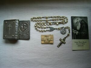 orig. Konvolut Hl. Bruder Konrad RK im Etui -1 Medaille - Holz v. Sarg - 1 Bild