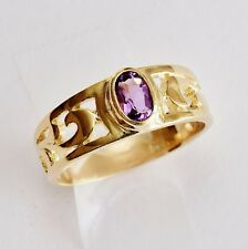 NATURAL AMETHYST RING REAL 9K 375 GOLD FEBRUARY BIRTHSTONE SIZE N GIFT BOXED NEW