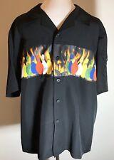 Flame Bowling Shirt Mens Large Black Multicolored Pins