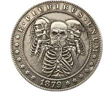 New Hobo Nickel Dollar Skeleton Hear Speak See No Evil Biker US Art Casted Coin