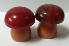 VINTAGE BUTTERSCOTCH RED MARBLED BROWN BAKELITE MUSHROOM SALT & PEPPER SHAKERS
