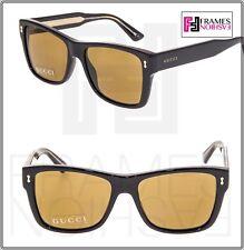 1f3ca850381 GUCCI 1149 Square Square Shiny Black Crystal Amber Sunglasses GG1149 Unisex