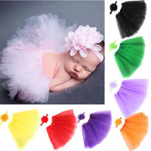 Newborn Baby Girls Tutu Skirt & Headband Boutique Photoshoot Prop Charm Set~