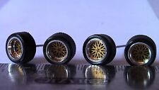 HOT WHEELS RUBBER TIRES SET  BBS TYPE GOLD 20 SPOKE NEW REAL RIDERS BOTH SMALL