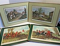 "4 Vintage PIMPERNEL 16"" X 12"" ENGLAND PLACEMATS ENGLISH FOX HUNTING & VILLAGES"