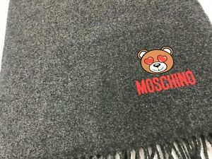 Moschino Couture Jeremy Scott Teddy Bear Hearts in the Eyes Wool Gray Scarf