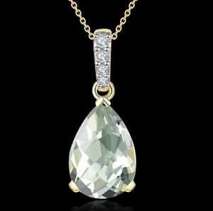Natural Gemstone Green Amethyst 1.63CT 14K Yellow Gold Necklace 45CM or 18""