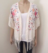 Abercrombie Womens Floral Embroidered Kimono Sweater Cardigan Top Shirt Fringes