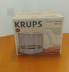 Krups 12 Cup Glass Coffee Carafe Replacement w/ White Lid for ProAroma 453 & 452