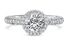 Real 14K Solid White gold 2.01 ct Round Brilliant Solitaire Halo Engagement Ring