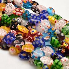 Handmade Millefiori Glass Heart Shaped Beads on String, 12x12x5mm, 1mm hole