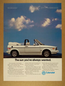 1989 VW Volkswagen Cabriolet white car photo vintage print Ad