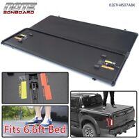 For 14-18 Chevy/GMC Silverado/Sierra 6.6ft Bed Black Hard Tri-Fold Tonneau Cover