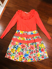 Review 10 Ladies Floral A Line Pleat Skirt And Coral Knit Jumper Top Outift Set