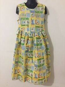 Laura Ashley Mother & Child Vtg? Sleeveless Dress Yellow w/Multi-Color Sz 7 Yrs