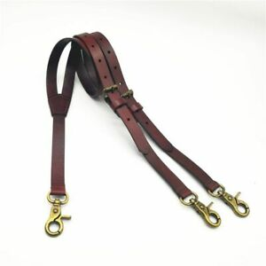 Suspender Straps Vegetable Tanning Leather Bronze Retro Scalpers Durable Vintage