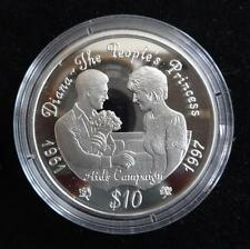 1997 SILVER PROOF SIERRA LEONE $10 COIN LIFE OF PRINCESS DIANA AIDS CAMPAIGN