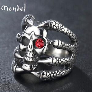 MENDEL Gothic Mens Biker Skull Dragon Claw Finger Ring Stainless Steel Size 7-13
