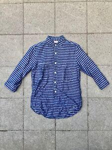Freewheelers Gandy Dancer 3/4 Sleeve Button Navy Grey Striped Shirt 15 Japan
