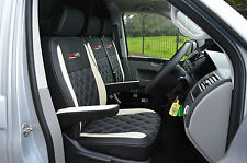 Volkwagen VW Transporter T5 Crew Cab Van Seat Covers - Black & White w Diamonds