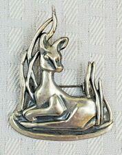 """Vtg Sterling Silver Deer Doe in Reeds Bedded Down Brooch Pin 2.25"""" Estate Find"""