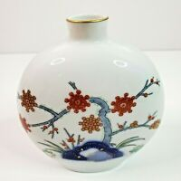 "Vintage Fukagawa Handpainted Porcelain Vase Floral W/Gold Trim Arita Japan 4"""