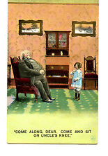 Uncle w/ Large Stomach No Room-Girl Sit on Lap-Comic Greeting Vintage Postcard