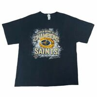 Super Bowl XLIV Mens New Orleans Saints Delta Magnum Weight T Shirt Black XL
