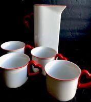 VANDOR Vintage Red Heart Handle Coffee Mug And Drink Pitcher 1978 Rare Find
