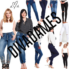 JUSTYOUROUTFIT New Womens Ladies Plus Size Curve Embroidered Hem Denim Jeans