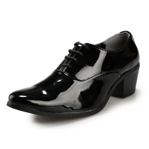 Mens Dress Shoes Patent Leather Pointy Toe Oxfords Chunky Formal Business Shoes
