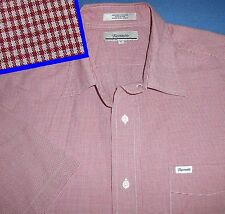 XL FACONNABLE RED WHITE GINGHAM MICRO CHECK SHORT SLEEVE MENS DRESS SHIRT