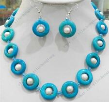 TRUE WHITE CULTURED PEARL & BLUE CRUDE TURQUOISE RING  NECKLACE EARRINGS SET