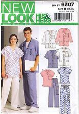 Mens Womens Scrub Nurse Top Drawstring Pants Jacket Sewing Pattern XS S M L XL