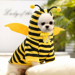 Warm Fleece Pet Dog Sweater Hoodie Jacket Clothes Cute Bee Puppy Cat Coat Outfit