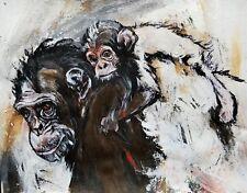 Chimpanzee & Child on Canvas - Paris Collection - African Ape Animal Art 24X36