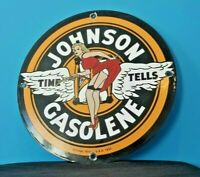 VINTAGE JOHNSON GASOLINE PORCELAIN GAS MOTOR OIL SERVICE PIN UP GIRL PUMP SIGN