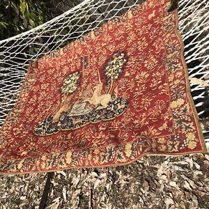 La Vue French Tapestry Wall Hanging Rod Pocket Flor De Lis Pole Tassels Unicorn