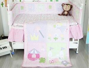 Cute Pink Baby Crib Cot Bedding Quilt Bumper Sheet Dust Ruffle Set of 4pcs New