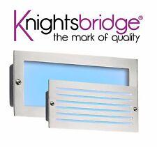 Knightsbridge 230V IP54 5W Blue LED Garden Outdoor Brushed Steel Brick Light