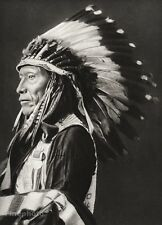 1934 Vintage SIOUX INDIAN CHIEF Native Tribe Eagle Feathers War Bonnet Art 11x14