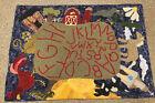 "Handmade Primitive Spun Dyed Hooked Wool Rug Country Village Sampler 29"" x 40"""