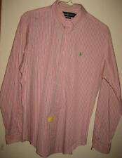 Ralph Lauren Classic Fit Pink Green Striped Button Down Collar LS Shirt L EUC