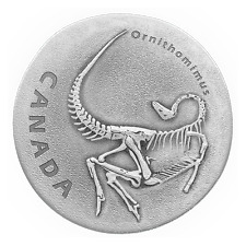 ORNITHOMIMUS - ANCIENT CANADA 2017 $20 1 oz Fine Silver Antique Finish Coin RCM