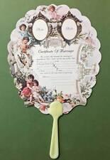 Certificate of Marriage Handle Fan Wedding Old Print Factory