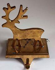 Solid Brass Reindeer Stocking Holder