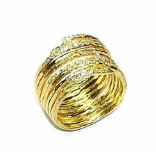 18 KT YELLOW GOLD  HAMMERED CIGAR BAND 40 CT PAVE' DIAMOND