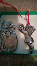 Gorham Silver Plated Christmas Treasures Cat and Cherub Ornaments