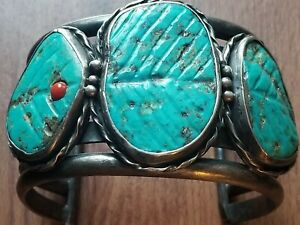 HUGE OLD PAWN 4 BAND INGOT/COIN SILVER TURQUOISE & CORAL CUFF BRACELET 6.22 OZ!!