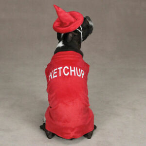 Ketchup Bottle Dog Puppy Pet Costume Party Halloween Red PLUSH  LARGE